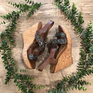 Naughty Monkey brown beaded wedge
